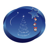 Christmas sticker. Blue background depicting a christmas scene Royalty Free Stock Photography