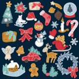Christmas set icon elements can be used for advent. Christmas sticker elements set with gift box, xmas tree, deer, snowman, gingerbread cookie, candle, bell Stock Photos