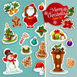Christmas sticker icon set for xmas design Royalty Free Stock Images