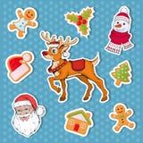 Christmas sticker. Set of different sticker for christmas. New Year. Different new year characters. Colorful cartoon sticker. New Year characters of Christmas vector illustration