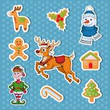 Christmas sticker. Set of different sticker for christmas. New Year. Different new year characters. Colorful cartoon sticker. New Year characters of Christmas royalty free illustration