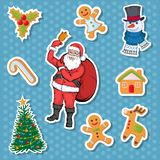 Christmas sticker. Set of different sticker for christmas. New Year. Different new year characters. Colorful cartoon sticker. New Year characters of Christmas stock illustration