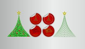 Christmas sticker set. Pack of 4 stickers and two geometric trees with Christmas theme Royalty Free Stock Photography