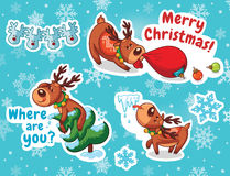 Christmas sticker set. Reindeer Santa Stock Image