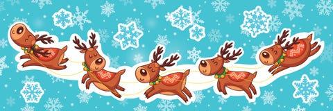 Christmas sticker set. Reindeer Santa Stock Photo