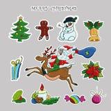 Christmas sticker set. Vector hand drawn clip art. Santa, deer, snowflake, Christmas tree royalty free illustration