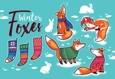 Stickers collection with cartoon foxes in cozy sweaters. Vector illustration. Christmas sticker set. Winter cartoon foxes in colorful cozy sweaters, rabbits and royalty free illustration