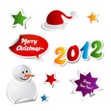 Christmas Stickers. Colorful Christmas Stickers For Web Or Print Stock Illustration
