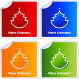 Christmas Stickers. Christmas sticker with tree and snowflake, illustration vector illustration