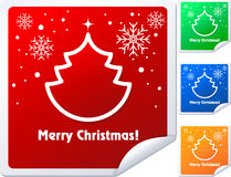 Christmas Stickers. Christmas sticker with tree and snowflake, illustration royalty free illustration