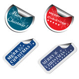 Christmas stickers. Four colorful stickers with the text Merry Christmas written on each sticker stock illustration