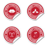 Christmas stickers. Collection of red christmas stickers on white background Stock Photos