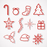 Christmas Stickers. Vector set of Christmas paper icons Stock Photos