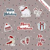 Christmas stickers-bear-bird warm wish gifts theme. A set of Christmas stickers, scrapbook, gift tags with text, bear, bird, bobble hat, ornament, warm wish vector illustration