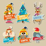 Christmas stickers collection stock illustration