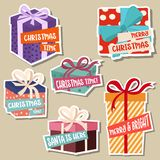 Christmas stickers collection with gift boxes stock illustration
