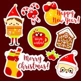 Christmas stickers. Cute Santa, elf, socks and other New Year holiday symbols in kawaii style. Collection of isolated vector. Design elements for seasonal royalty free illustration