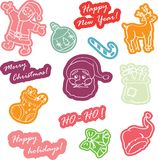 Christmas stickers for decoration Royalty Free Stock Image