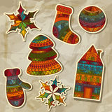Christmas Stickers Design Elements Royalty Free Stock Images