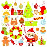 Christmas stickers, icons. Cute Santa, spruce, deer and other New Year holiday symbols in kawaii style. Big collection of isolated stock illustration