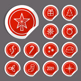 Christmas Stickers. Christmas red stickers. Vector flat design Royalty Free Stock Photos