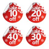 Christmas stickers sale set with fir tree. Vector illustration Royalty Free Stock Photos