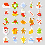 Christmas stickers Set Collection Vector. cartoon. New year traditional symbols. icons objects. Isolated Stock Photography