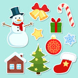 Christmas stickers set. Colorful Christmas stickers on white background Royalty Free Stock Photography