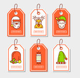 Christmas stickers set with flat icons. Stock Photography