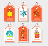 Christmas stickers set with flat icons. Royalty Free Stock Photo