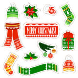 Christmas stickers set on white background. Winter kids stuff stickers set. Royalty Free Stock Image