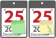 Christmas sticky note calendar year date. Yellow and green versions of sticky notes on December 25 Christmas day calendar pages Stock Photos