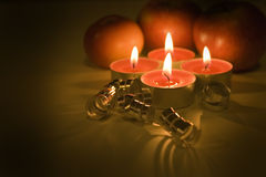 Christmas still life. With candles Royalty Free Stock Image
