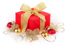 Christmas Still Life. Christmas gift box with christmas balls in snow Stock Images