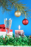 Christmas still life. Against the blue background Royalty Free Stock Images