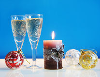 Christmas still life. Against the blue background Stock Photography