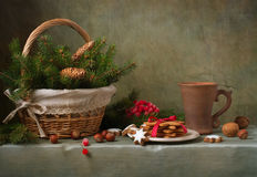Christmas still life. With ginger biscuits Stock Photos