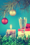 Christmas still life against blue background Stock Image