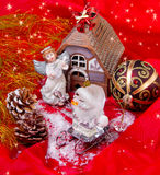 Christmas still-life with angel and ornament Royalty Free Stock Images