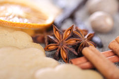 Christmas still life with anise and cinnamon Royalty Free Stock Photo
