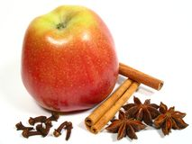Christmas still life, apple and spice stock images