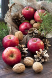 Christmas still life with apples and pine cones Stock Photography