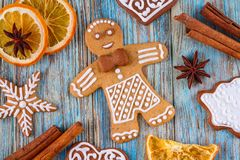 Christmas still life background with gingerbread cookies from festive ingredients. On wooden boards Royalty Free Stock Images