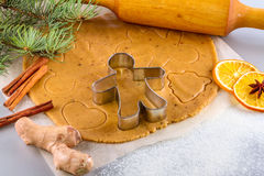 Christmas still life background with ingredients for baking. Christmas still life background with gingerbread cookies in decoration frame from ingredient for Royalty Free Stock Images