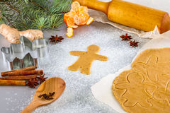 Christmas still life background with ingredients for baking. Christmas still life background with gingerbread cookies in decoration frame from ingredient for Stock Photos