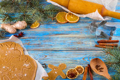 Christmas still life background with ingredients for baking. Christmas still life background with gingerbread cookies in decoration frame from ingredient for Stock Images