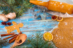 Christmas still life background with ingredients for baking. Christmas still life background with gingerbread cookies in decoration frame from ingredient for Royalty Free Stock Photo