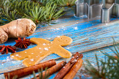 Christmas still life background with ingredients for baking. Christmas still life background with gingerbread cookies in decoration frame from ingredient for Royalty Free Stock Photos