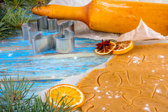 Christmas still life background with ingredients for baking. Christmas still life background with gingerbread cookies in decoration frame from ingredient for Royalty Free Stock Image