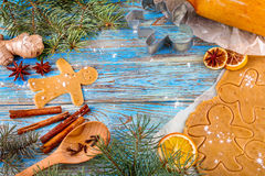 Christmas still life background with ingredients for baking. Christmas still life background with gingerbread cookies in decoration frame from ingredient for Royalty Free Stock Photography